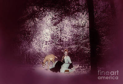Fawn Mixed Media - A Quiet Place In The Woods by KaFra Art