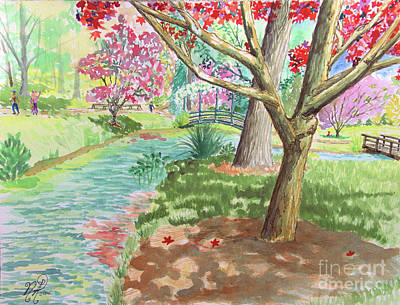 Painting - A Quiet Stroll In The Japanese Gardens Of Gibbs Gardens by Nicole Angell