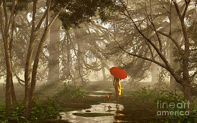 Dog Walking Digital Art - A Quiet Walk After A Rainy Day by Diana Voyajolu