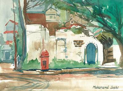 Maharashtra Painting - A Quiet Wall In A Town With A Colonial Postal Box by Makarand Joshi