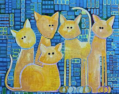 A Quorum Of Cats Art Print by Donna Howard