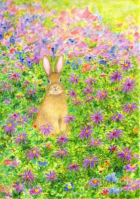 Painting - A Rabbit And Flowers by Jingfen Hwu