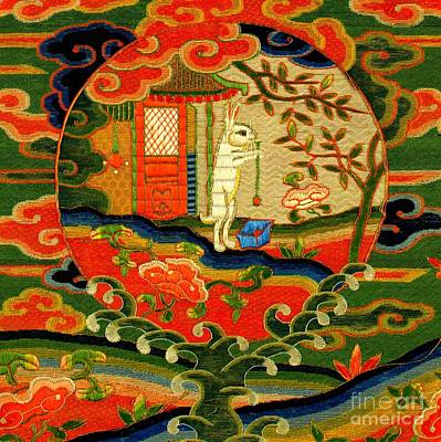 Tapestry - Textile - A Rabbit In The Moon 17th Century Chinese Silk Qing Dynasty by Peter Ogden Collection