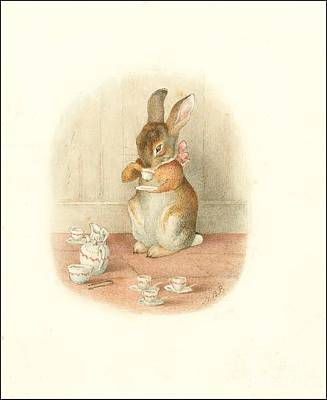 Painting - A Rabbit's Tea Party by Beatrix Potter