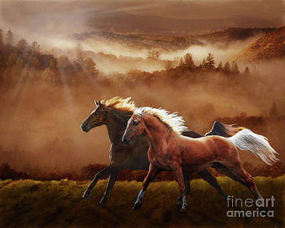 Digital Art - A Race At Sunset by Melinda Hughes-Berland