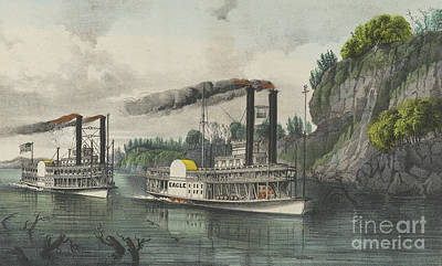 Speed Boat Painting - A Race On The Mississippi, 1870 by Currier and Ives