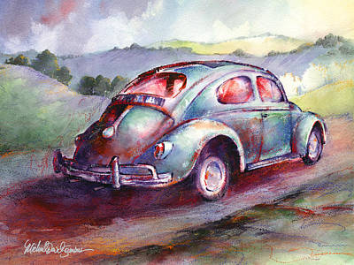 Wine Country Watercolor Painting - A Rag Top Bug In Wine Country by Michael David Sorensen