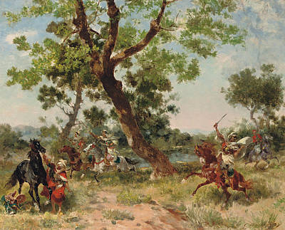 Arabian Horse Painting - A Raiding Party by Georges Washington