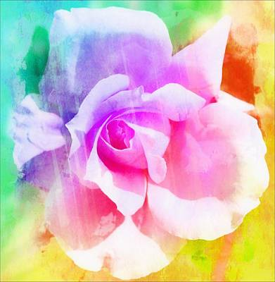 Portland Art Digital Art - A Rainbow Of A Rose Two by Cathie Tyler