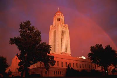 A Rainbow Shines Over The Nebraska Art Print by Joel Sartore