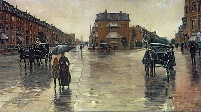 Horse-drawn Painting - A Rainy Day In Boston by Childe Hassam