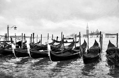 Photograph - A Rainy Day In Venice Bw by Mel Steinhauer