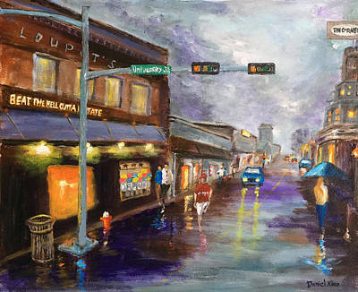 A Rainy Night At Northgate Art Print by Daniel Xiao