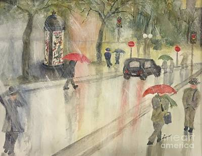 Painting - A Rainy Streetscene  by Lucia Grilletto