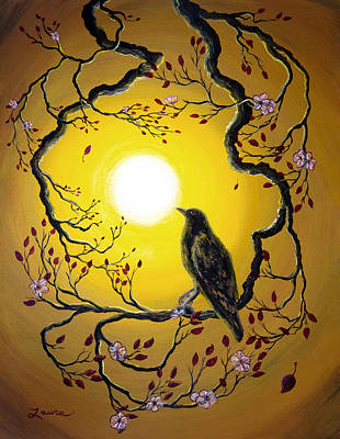 Blackbird Painting - A Raven Remembers Spring by Laura Iverson