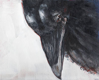 Crows Painting - A Raven Rests by Eve McCauley