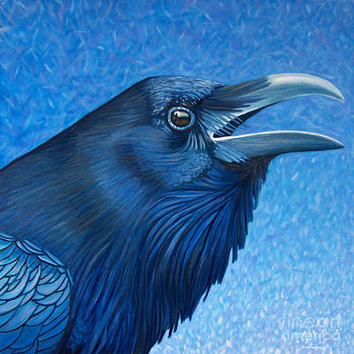 Corvid Painting - A Raven's Prayer by Brian  Commerford