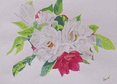 Painting - A Rose Bouquet by Hilda and Jose Garrancho