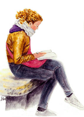 Reproduction Drawing - A Reading Girl In Milan by Jingfen Hwu