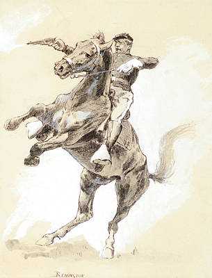 Patriotism Painting - A Rearer by Frederic Sackrider Remington