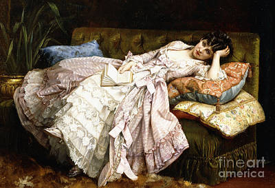 Stunning Painting - A Reclining Beauty by Auguste Toulmouche