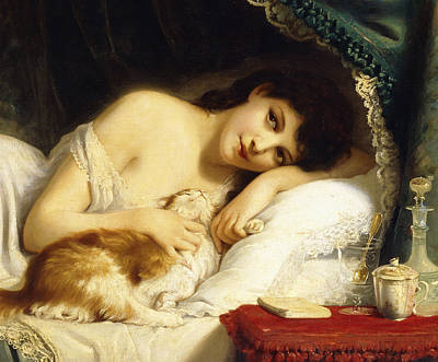 A Reclining Beauty With Her Cat Art Print by Fritz Zuber-Buhler