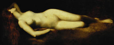 Reverie Painting - A Reclining Nude by Jean Jacques Henner