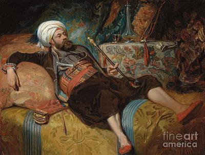 Hookah Painting - A Reclining Turk Smoking A Hookah, 1844 by Henri Baron