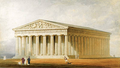 Reconstruction Drawing - A Reconstruction Of The Parthenon. Athens by Thomas Allom