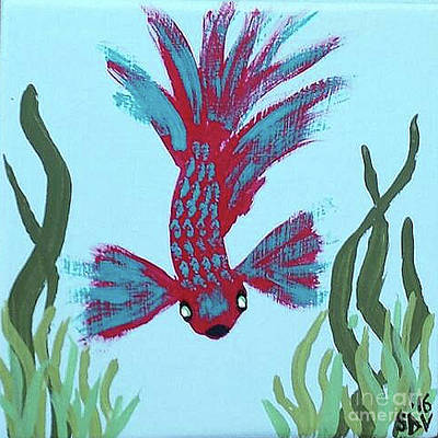 A Red And Blue Tropical Fish  Art Print