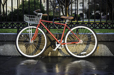 Photograph - A Red Bicycle Near Jackson Square, New Orleans, Louisian by Printed Pixels