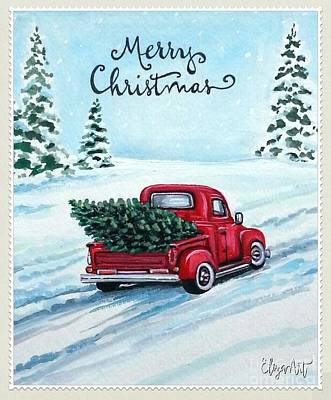 Painting - A Red Truck Christmas by Elizabeth Robinette Tyndall