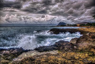 Photograph - A Relentless Splash Oahu Stormy Sunset  Hawaii Collection Art by Reid Callaway