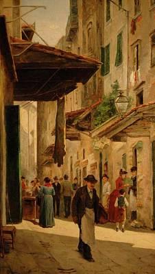 A Rendezvous In The Uffizi Art Print by Odoardo Borrani