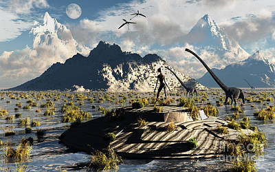 Extraterrestrial Existence Digital Art - A Reptoid Atop An Abandoned Ufo by Mark Stevenson