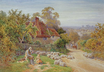 Herding Dog Painting - A Rest By The Way by Charles James Adams