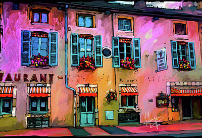 Painting - A Restaurant In Beaune, France by DC Langer