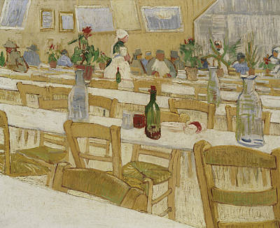 Glass Flowers Painting - A Restaurant Interior by Vincent Van Gogh