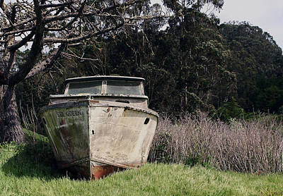 A Retired Old Fishing Boat On Dry Land In Bodega Bay Art Print