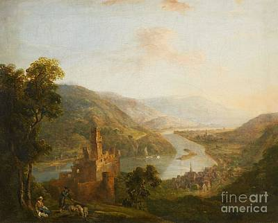 Schneider Painting - A Rhenish Landscape With Sooneck Castle by MotionAge Designs