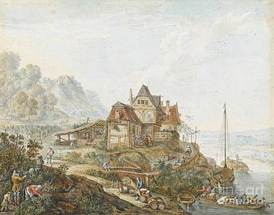 A Rhine Landscape With Peasants At Work Art Print