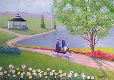 Two Bicycles Painting - A Ride In The Park by William H RaVell III