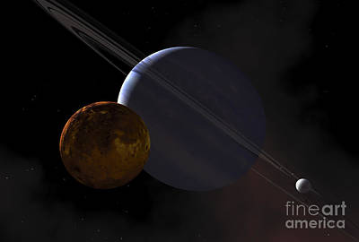 Exoplanet Digital Art - A Ringed Gas Giant Exoplanet With Moons by Adrian Mann