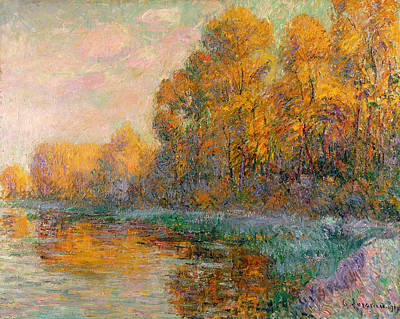 Autumn Leaf On Water Painting - A River In Autumn by Gustave Loiseau