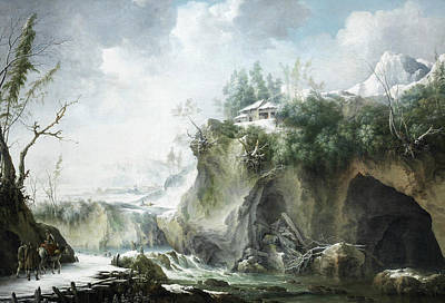 Italian Landscapes Painting - A River Landscape In Winter, With Travellers On A Snowy Path by Francesco Foschi