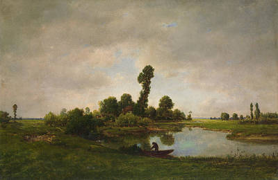 Look Painting - A River Landscape by Theodore Rousseau