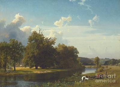Riverscape Painting - A River Landscape Westphalia by Albert Bierstadt