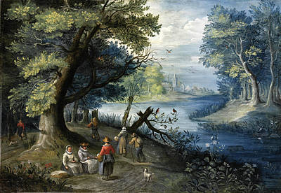 Painting - A River Landscape With Figures by Attributed to Balthasar Beschey