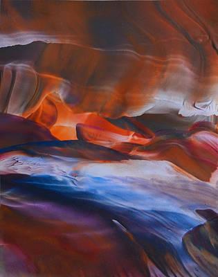 Mountainous Mixed Media - A River Runs Thrugh It by Maureen Thulin