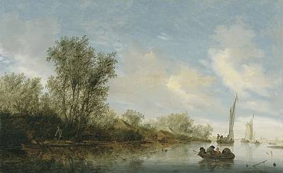 Nature Painting - A River With Fishermen 1645 By Salomon Jacobsz. Van Ruysdael by Salomon Jacobsz van Ruysdael